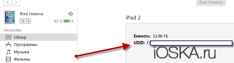 UDID в iTunes