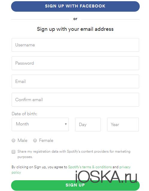 Регистрация в Spotify